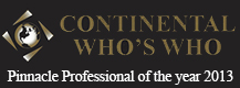 Continental Who's Who Pinnacle Professional of the year 2013 award